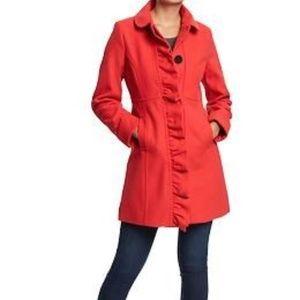Old Navy Ruffled Wool-Blend Dress Coat